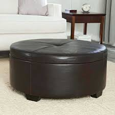 brown faux leather ottoman king size tufted coffee table avalon espresso round with storage for living