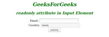 Html Readonly Attribute Geeksforgeeks
