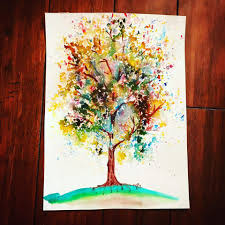 brush and color tree painting ideas
