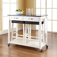 Small Kitchen Space Saving White Small Kitchen Island Cart With Backless Stools And Black