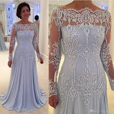 Light Blue Dresses For Mother Of The Bride Light Sky Blue Mother Of The Bride Dress Long Sleeves Lace Plus Size A Line Formal Evening Gowns Bateau Neckline Chiffon Gowns Canada 2019 From