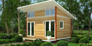 Perfect Slanting Roofing Wooden Small Houses With Double Glass Doors As  Well As Green Garden Front Landscaping Designs