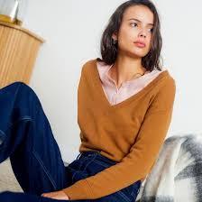 <b>Пуловер</b>, с v-образным вырезом из кашемира кремовый <b>La</b> ...