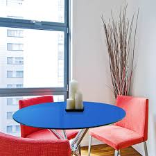 glass table top 28 blue round back painted 3 8 thick flat
