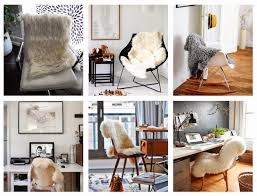 a recent fad in the office workspace is fur throw rugs most commonly sheep skin rugs are being used over chairs to bring comfort and warmth