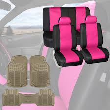 car suv leather seat covers pink w beige floor mats full set interior 0