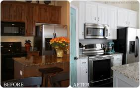 Delighful Painting Oak Kitchen Cabinets White Before With Ideas