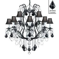 wrought iron crystal chandelier lighting chandeliers x with black shades and white pendant