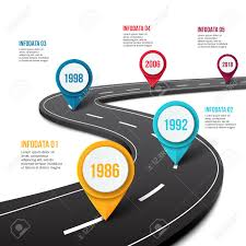 Vector Road Infographic With Pin Pointer Timeline Template With