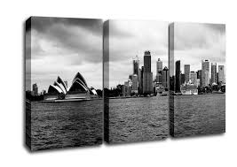 architecture 3 panel australia sydney river view b n w canvas art