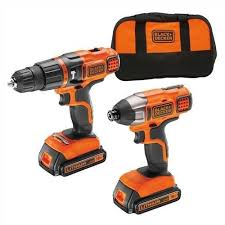 black and decker tools. black + decker bdchim18b 18v hammer drill impact driver kit and tools i