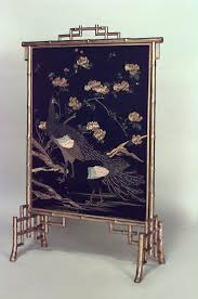 french victorian gilt faux bamboo fire screen with blue fl and bird design panel
