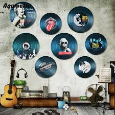 aqumotic wood vinyl record wall sticker record decorations model europe star us star wall decor for