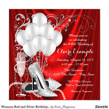 Womans Red And Silver Birthday Party Luxe Card Red And Silver