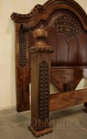 custom spanish style furniture. Alamo Bed With Tooled Leather Custom Spanish Style Furniture