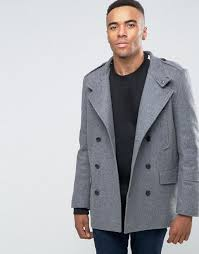 new look wool military peacoat in grey light men coats new look jelly flat sandals largest collection