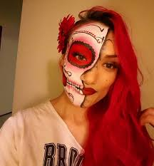 half sugar skull 14 side suger skull makeup