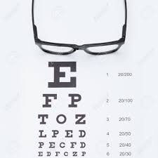 Eyesight Test Chart With Glasses Studio Shot