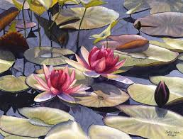 water lily art watercolor painting print by cathy hillegas 12x16 watercolor flowers watercolor print red pink green yellow blue