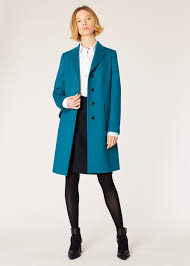 model front view women s dark turquoise wool cashmere epsom coat paul smith