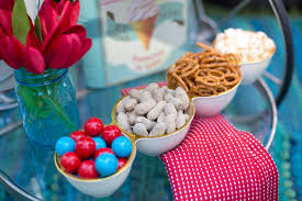 the colorful decor lends itself to fun and colorful snacks including these ice cream sundae