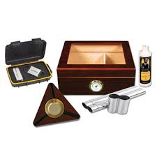capri gltop cigar humidor gift set