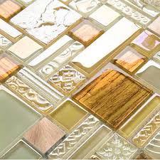 yellow crystal glass tile backsplash ideas bathroom brushed aluminum tiles metal iridescent kitchen wall tile klch09