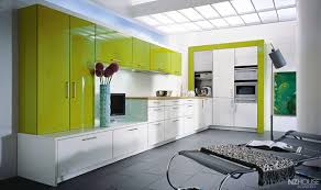 Kitchen:Beautiful Small Green Kitchen Design With Green Cabinet And Purple  Wall Color Hi Gloss