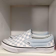 Light Gray Slip On Vans Slip On Light Blue Checkered Vans Worn Once Size Depop