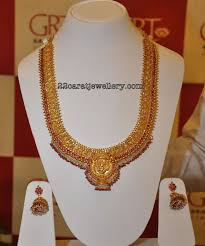 gold antique haram with pearls from grt jewellery