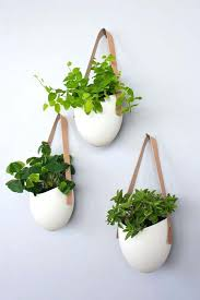 wall plant pots set of 3 porcelain and leather planters great idea for herb plants in wall plant pots