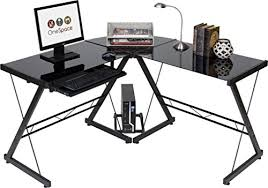 l shaped desk for gaming. Delighful Desk Glass L Shaped Desk For Gaming OneSpace 50JN110500 Ultramodern Inside For Gaming