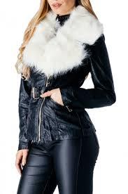 black faux fur collar leather look biker jacket