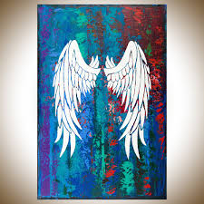 angel wings qiqigallery stretched canvas original large angle wall art abstract modern blue purple painting mixed