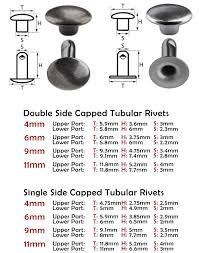 Tubular Rivets Double Single Side Size Chart Grommet Mart