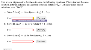 solving equations with inverse trig