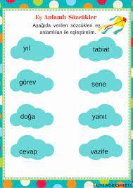 Eş Anlamlı Sözcükler interactive worksheet