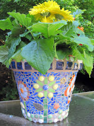 Pot Decoration Designs Accessories Beautiful Green Flower Mosaic Plant Pots With Blue 86