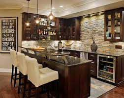 Basement Bar Idea - Love the stone, the combo of stainless steel and  espresso color. Also interesting addition to the countertop. 20 Creative  Base