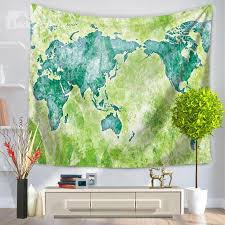 51 watercolor world map prints vintage style green hanging wall tapestries