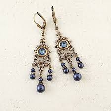 midnight blue chandelier earrings made with swarovski crystal and antiqued brass handmade iqxb03hfk