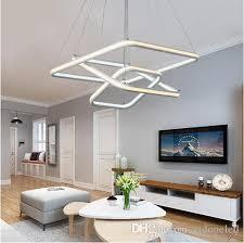 square double glow led chandeliers modern led pendant lights aluminum white hanging chandelier for dining kitchen room high brightness globe pendant