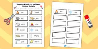 Opposite Words Cut And Paste Sorting Activity Opposite Words
