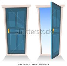 Doors, Closed And Open/ Illustration Of A Set Cartoon Front Doors Opened  And Shutterstock