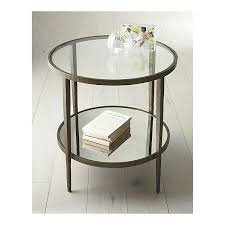 round glass end tables mirror glass forged metal simply perfect accent table from crate barrel a round glass end tables