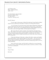 Education Administration Cover Letter Principal Higher