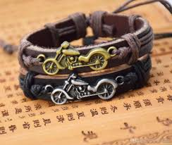 hot mens biker leather bracelet harley motorcycle charm bracelets wide genuine leather wrap chains for men s fashion diy punk jewelry charm bracelets