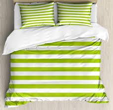 lime green duvet cover set horizontal stripes simplistic watercolor paintbrush large lines image decorative bedding set with pillow shams