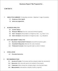 Sample Business Report Example Business Report Format Example