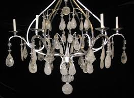 ch02 large all rock crystal silver leafed hand forged wrought iron 6 light chandelier 4 ch02